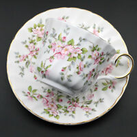 Vintage ALLYN NELSON COLLECTION Bone China Tea Cup & Saucer Pink Floral