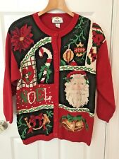 Lady's 1995 TIARA INT'L Christmas Sweater Size 20 Knit-In SANTA FACE Candy Cane