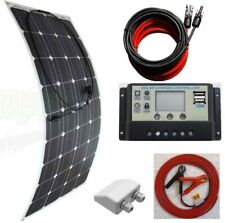 100w Flexible Solar Panel /w 10A LCD Controller Dual USB & 6m cable fuse & clips