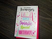 FOR A SPECIAL TEENAGER  HAPPY BIRTHDAY GIRL HEARTS-CANDLES-STARS  NEW F. P