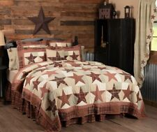 Abilene Star KING Quilt Hand Quilted Burgundy Tan Cotton Country Patchwork VHC