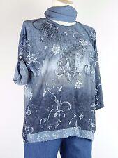 Shirt Tunika Gr.44 - 50 Designer Lagenlook Tuch Blumen Pailetten  blau grau w