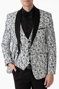 Jack Martin - White Floral Printed Velvet Dinner Jacket / Tuxedo