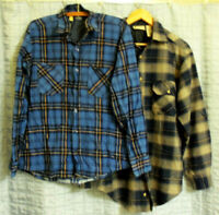 LOT OF 2 FLANNEL SHIRTS NORTHWEST TERRITORY WRANGLER MENS SMALL BLUE PLAID