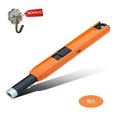 USB Electric Arc Lighter Gas Stove Windproof Rechargeable Igniter Gifts Orange