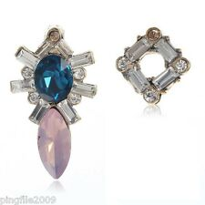 New Blue Pink White Crystal Ancient Gold Drop/Dangle Earring 3.2cm E1103