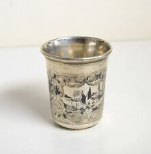 1860 Antique Russian Hand Chased Niello n Gold Wash Silver Vodka Shot Cup