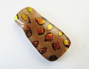 GOLD SPOTS on BROWN DICHROIC GLASS PENDANT to clear