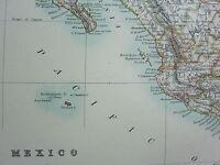 1910 MAP ~ MEXICO ~ LOWER CALIFORNIA GUATEMALA YUCATAN HIDALGO DURANGO