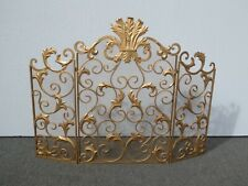 Vintage French Provincial Gold Ornate Three Panel Fireplace Screen