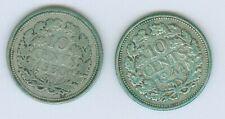 NEDERLAND 1930+1941, 2x ZILVEREN 10 CENT (1/10 GULDEN), KONINGIN WILHELMINA