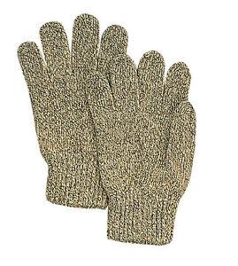 Ragg Wool Glove - Ragg Wool Mitten - One Size Fits All - Beige/Grey - U.S. Made
