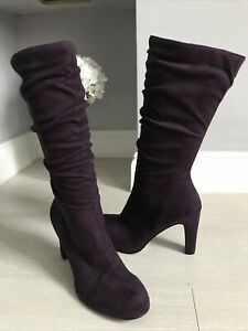 Mariamare Purple Faux Suede Sloch Calf Length Boots Size 5 Worn Once