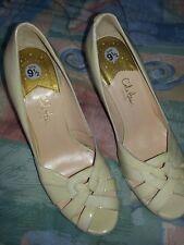 Cole Haan Open Toe Platform High Heels Patent Ivory-cream Sz 9-1/2 B