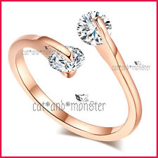 9CT ROSE GOLD GF WOMEN SOLID WEDDING ETERNITY DRESS CRYSTAL TWIST BAND RING GIFT