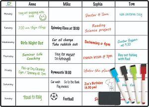 Magnetic Weekly Planner Fridge Board  - Notice Memo Meal Whiteboard Large 4 pens