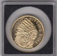 Sitting Bull native American coin-24 karat gold plated copper nickel coin - 2010