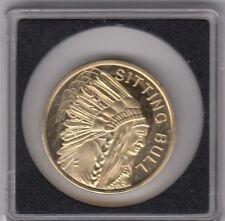 Sitting Bull native american coin - 24 Karat Gold Cuivre Plaqué Nickel Coin - 2010