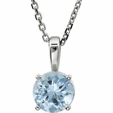 """Genuine Aquamarine """"March"""" Birthstone 18"""" Necklace In 14K White Gold"""