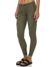 NEW + TAG BILLABONG 'COMMANDER' LADIES 12 CARGO PANTS STRETCH JEANS DUSTY OLIVE