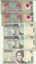 INDONESIA LOT 310000 RUPEES 1996-1999. 5 RARE NOTES. BARGAIN. 7RW 17DES