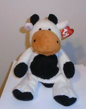 NM* Ty Pluffies - GRAZER the Cow (11 Inch) CREASED TAG - Stuffed Plush Toy
