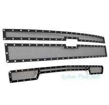 14-15 CHEVY SILVERADO 1500 UPPER+BUMPER RIVET MESH GRILLE GRILL BLACK STAINLESS