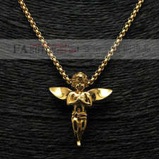 """Stainless Steel Gold Hip Hop Angel Micro Little Charm Pendants Necklace 3MM 24"""""""
