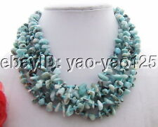 6Strds Natural Larimar Necklace-Aventurine Toggle Clasp