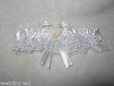 Wedding Bridal Garter Real Ocean Beach Seashell Sunsets Satin & Lace White