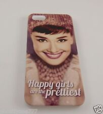 for Iphone 5 phone case back cover Audrey Hepburn Happy girls are the