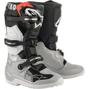 Alpinestars Youth Tech 7S Offroad Boots (Black/Silver/White/Gold) Choose Size