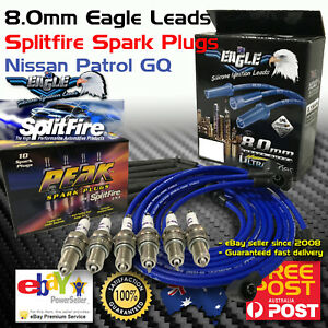 EAGLE IGNITION LEADS and SPLITFIRE SPARK PLUGS Kit Fits Nissan Patrol GQ TB42