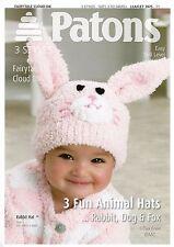 VAT Free Hand Knitting PATTERN ONLY Patons Baby Animal Hats Rabbit Dog Fox 3975