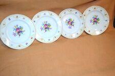 "4 Hutschenreuther 7 1/2"" China Salad Plates Bavaria Germany Flower Pattern, #2"