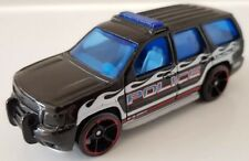 Hot Wheels '07 Chevy Tahoe Police Black White Flames 2011 HW City Works T8633