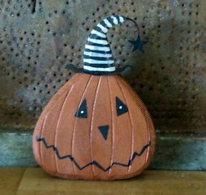 Chunky Wood HALLOWEEN Jack o Lantern Pumpkin Head Shelf Sitter Rustic Primitive