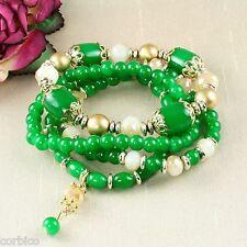 Tone Boho Stretch Bracelets - Gift Pouch B4 Multi Layer Green Glass Bead Gold