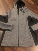 New Spyder Mens Ski Jacket Hoodie Size XL Gray Black