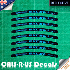8 Takasago EXCEL Rim Motorcycle Sticker Decal Dirt Bike Wheel Reflective Blue