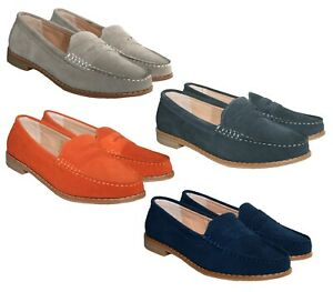LADIES MEMORY FOAM SOCK LEATHER SLIP ON MOCCASIN SHOE LOAFER 4 COLOURS SIZES 3-8