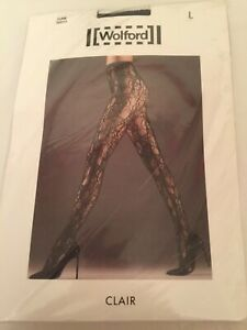 Wolford Clair Tights Large  14-16 Black