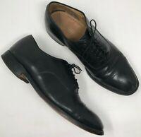 Johnston Murphy Black Leather Oxfords sz 11 D/B Cap Toe Lace Up Brogue Mens Shoe