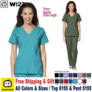WonderWink Scrubs Set W123 Women's V-Neck Top & Cargo Pant 6155/5155 Reg/Petite