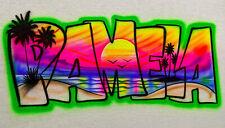 Airbrush T Shirt, Palms & Sand Dunes Beach Block Letters Name Design