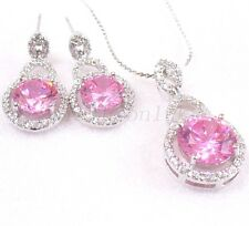 Pink Cubic Zirconia CZ White Gold Plated Luxury Big Stud Earrings Necklace Set