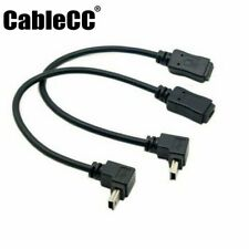 2pcs 90Degree Up & Down Direction Angled Mini USB 5 Pin Male to Female Cable USA