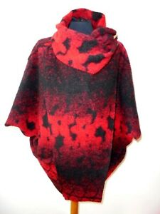 Made In Italy Boiled Wool Coat Jacket Daisy One Size Red and Black Lagenlook