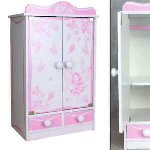 XXL PUPPENSCHRANK 822 rosa weiß 52cm Kinder-Kleiderschrank Puppenmöbel Spielzeug