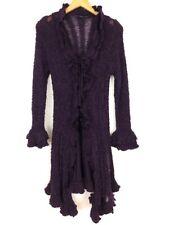 Sioni Women's Sz M Eggplant Long Cardigan Sweater Snap Front Wool Blend